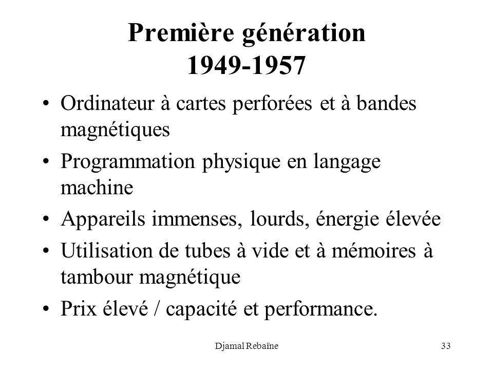 Djamal Rebaïne33 Première génération 1949-1957 Ordinateur à cartes perforées et à bandes magnétiques Programmation physique en langage machine Apparei