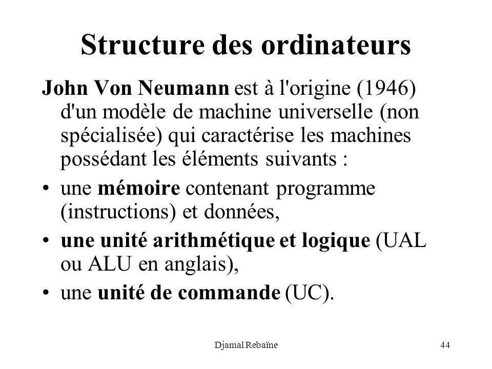 Djamal Rebaïne44 Structure des ordinateurs John Von Neumann est à l'origine (1946) d'un modèle de machine universelle (non spécialisée) qui caractéris