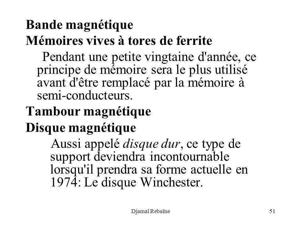 Djamal Rebaïne51 Bande magnétique Mémoires vives à tores de ferrite Pendant une petite vingtaine d'année, ce principe de mémoire sera le plus utilisé