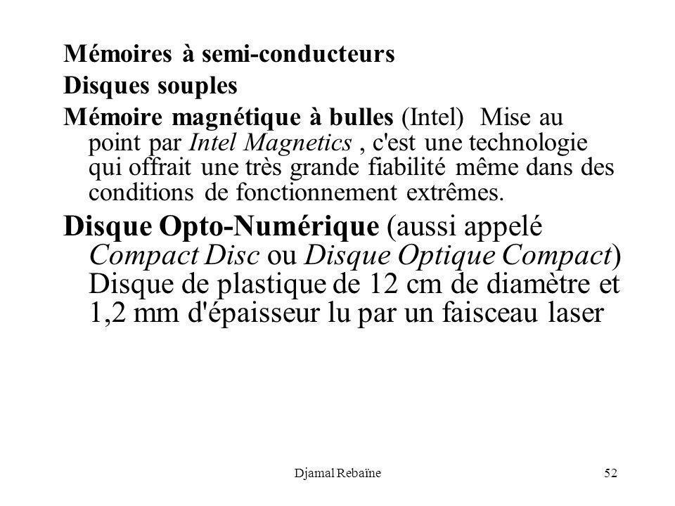 Djamal Rebaïne52 Mémoires à semi-conducteurs Disques souples Mémoire magnétique à bulles (Intel) Mise au point par Intel Magnetics, c'est une technolo