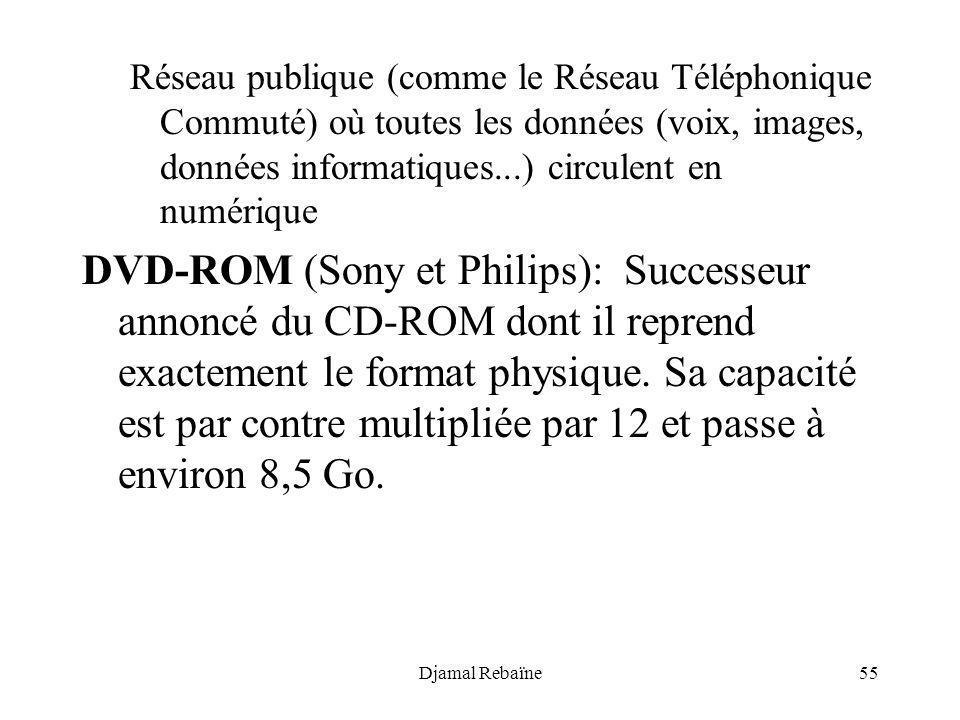 Djamal Rebaïne55 Réseau publique (comme le Réseau Téléphonique Commuté) où toutes les données (voix, images, données informatiques...) circulent en nu