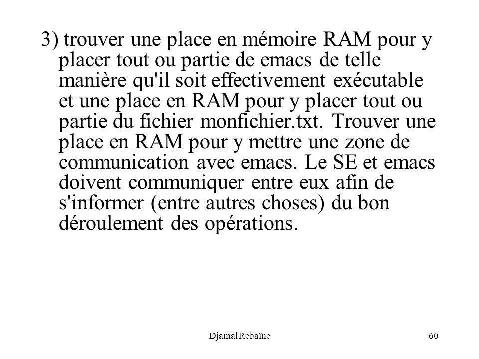 Djamal Rebaïne60 3) trouver une place en mémoire RAM pour y placer tout ou partie de emacs de telle manière qu'il soit effectivement exécutable et une