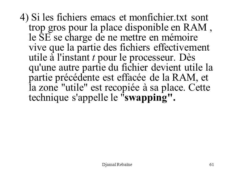 Djamal Rebaïne61 4) Si les fichiers emacs et monfichier.txt sont trop gros pour la place disponible en RAM, le SE se charge de ne mettre en mémoire vi
