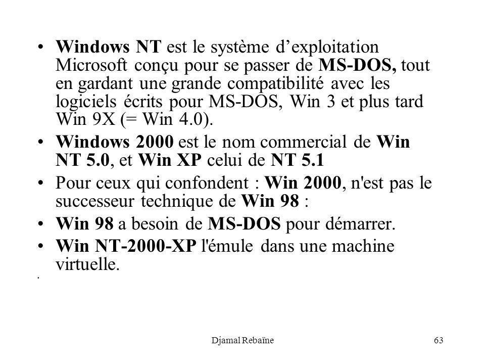 Djamal Rebaïne63 Windows NT est le système dexploitation Microsoft conçu pour se passer de MS-DOS, tout en gardant une grande compatibilité avec les l