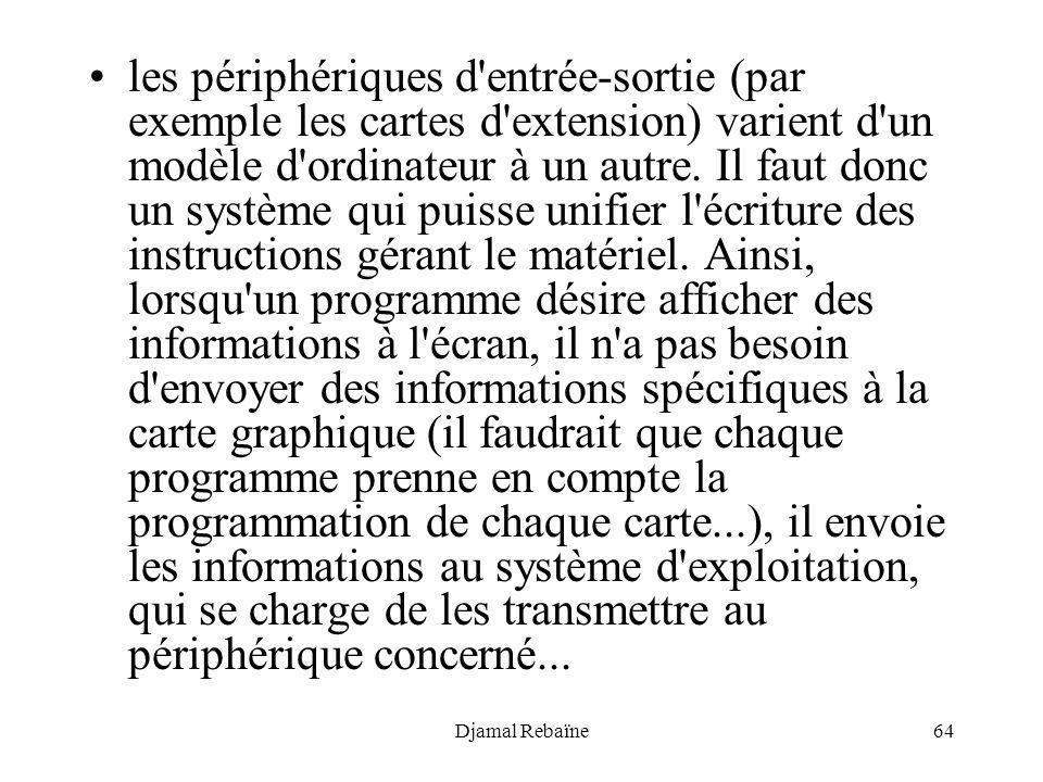 Djamal Rebaïne64 les périphériques d'entrée-sortie (par exemple les cartes d'extension) varient d'un modèle d'ordinateur à un autre. Il faut donc un s