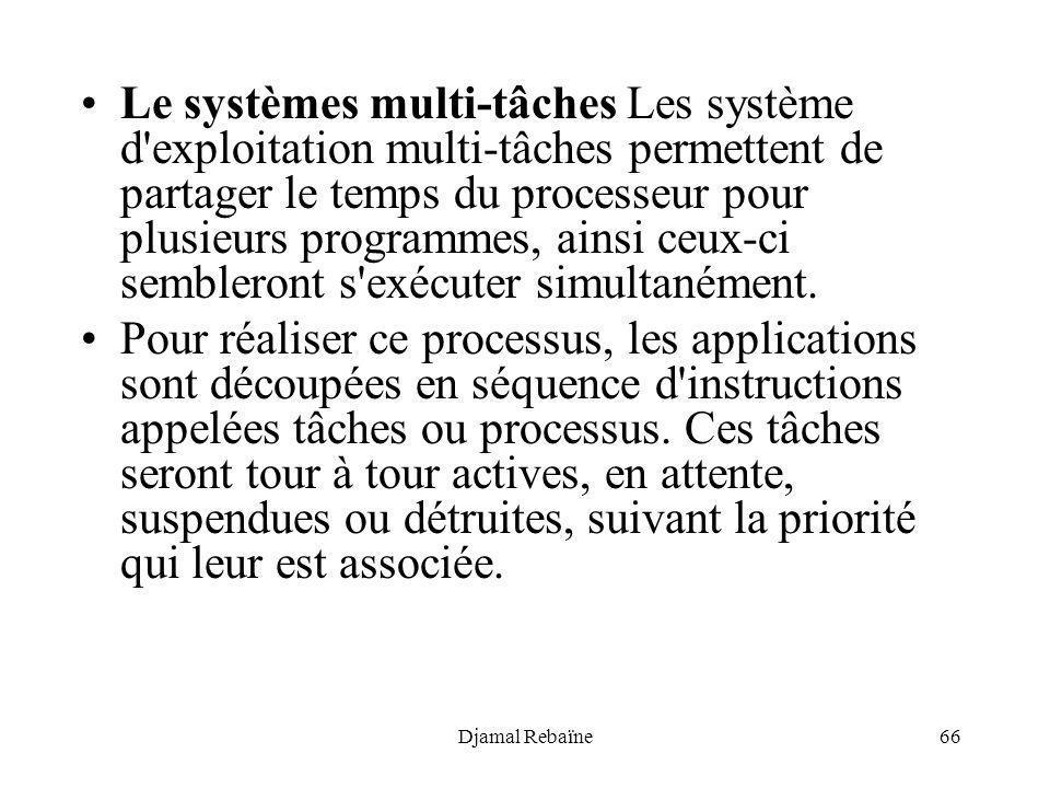 Djamal Rebaïne66 Le systèmes multi-tâches Les système d'exploitation multi-tâches permettent de partager le temps du processeur pour plusieurs program