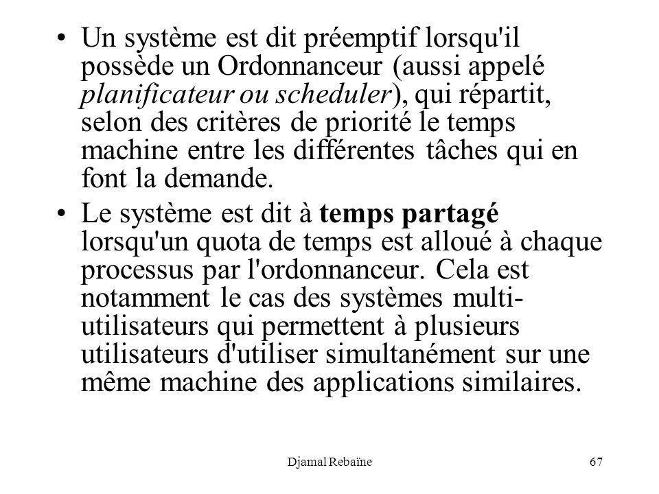 Djamal Rebaïne67 Un système est dit préemptif lorsqu'il possède un Ordonnanceur (aussi appelé planificateur ou scheduler), qui répartit, selon des cri
