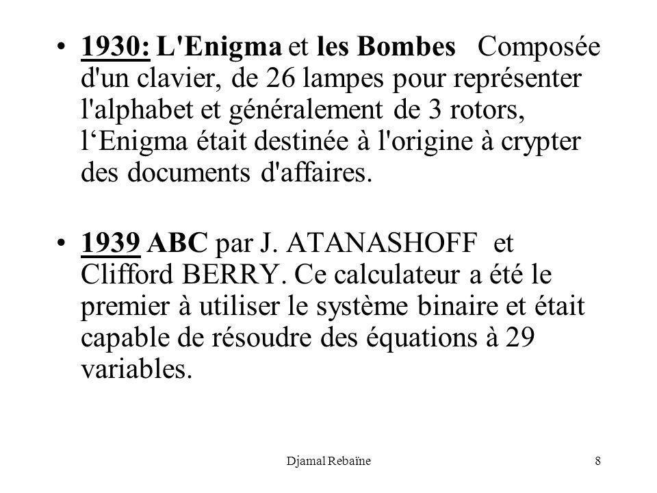 Djamal Rebaïne8 1930: L'Enigma et les Bombes Composée d'un clavier, de 26 lampes pour représenter l'alphabet et généralement de 3 rotors, lEnigma étai