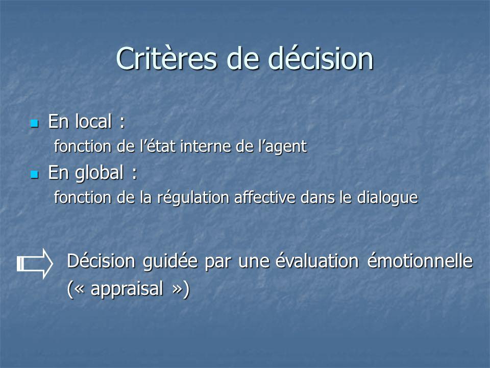 Critères de décision En local : En local : fonction de létat interne de lagent En global : En global : fonction de la régulation affective dans le dialogue Décision guidée par une évaluation émotionnelle (« appraisal »)