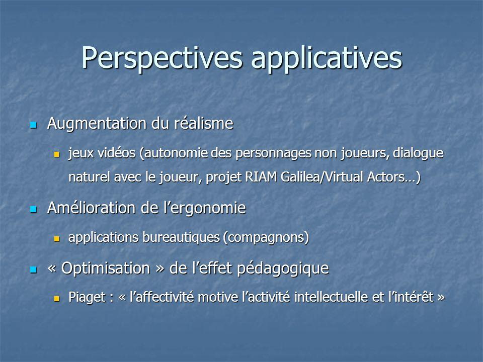 Perspectives applicatives Augmentation du réalisme Augmentation du réalisme jeux vidéos (autonomie des personnages non joueurs, dialogue naturel avec