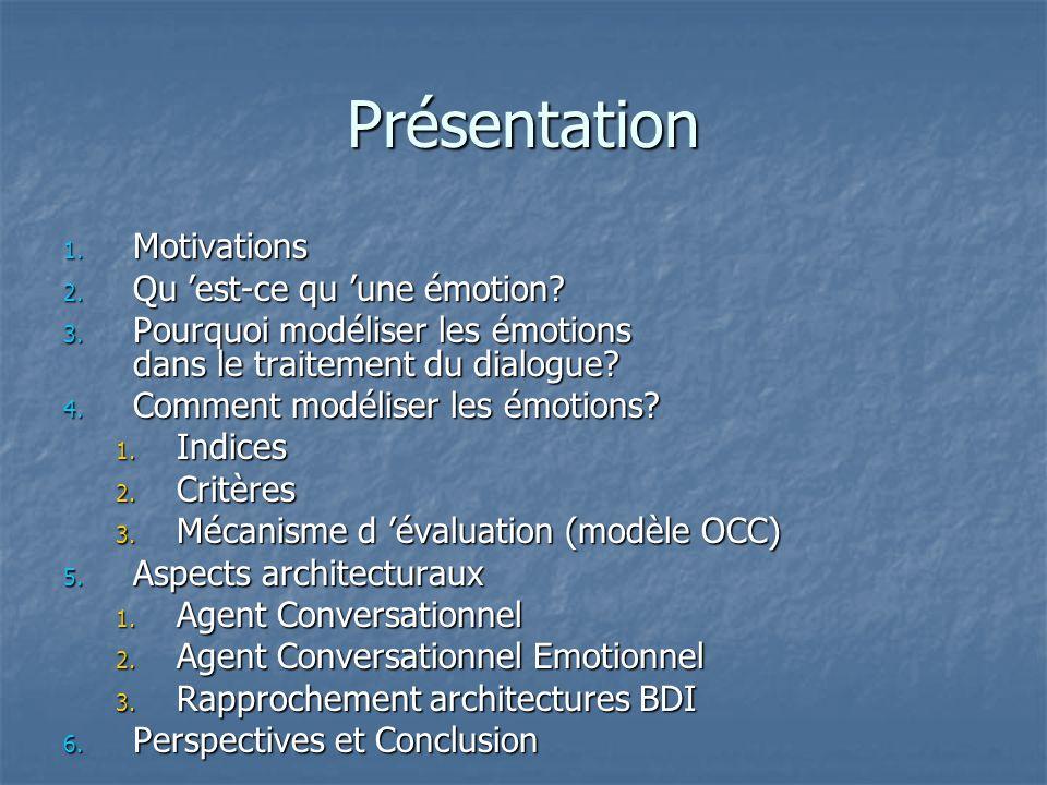 Présentation 1. Motivations 2. Qu est-ce qu une émotion? 3. Pourquoi modéliser les émotions dans le traitement du dialogue? 4. Comment modéliser les é