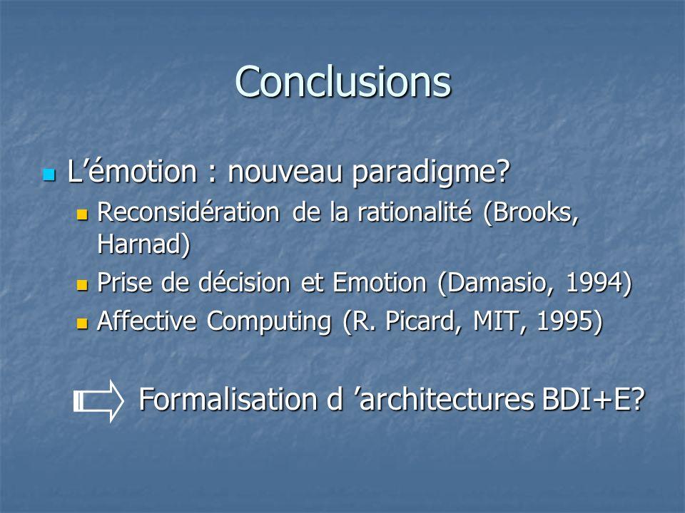 Conclusions Lémotion : nouveau paradigme? Lémotion : nouveau paradigme? Reconsidération de la rationalité (Brooks, Harnad) Reconsidération de la ratio