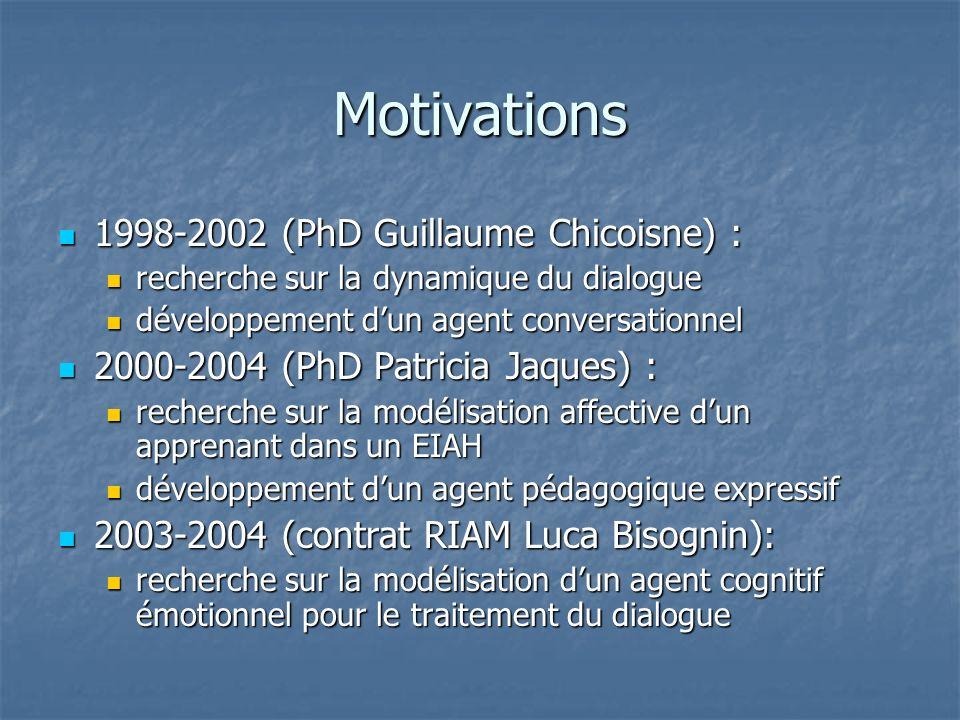 Motivations 1998-2002 (PhD Guillaume Chicoisne) : 1998-2002 (PhD Guillaume Chicoisne) : recherche sur la dynamique du dialogue recherche sur la dynami