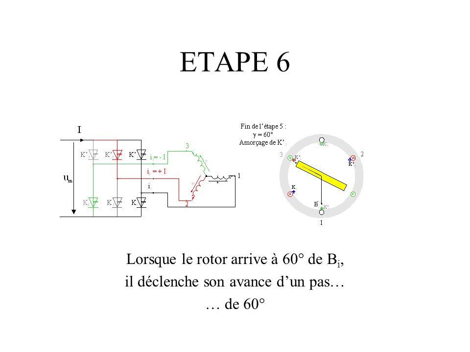 ETAPE 6 Lorsque le rotor arrive à 60° de B i, il déclenche son avance dun pas… … de 60°