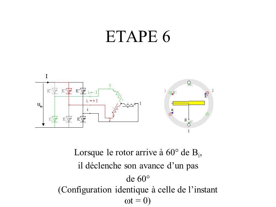 ETAPE 6 Lorsque le rotor arrive à 60° de B i, il déclenche son avance dun pas de 60° (Configuration identique à celle de linstant t = 0)