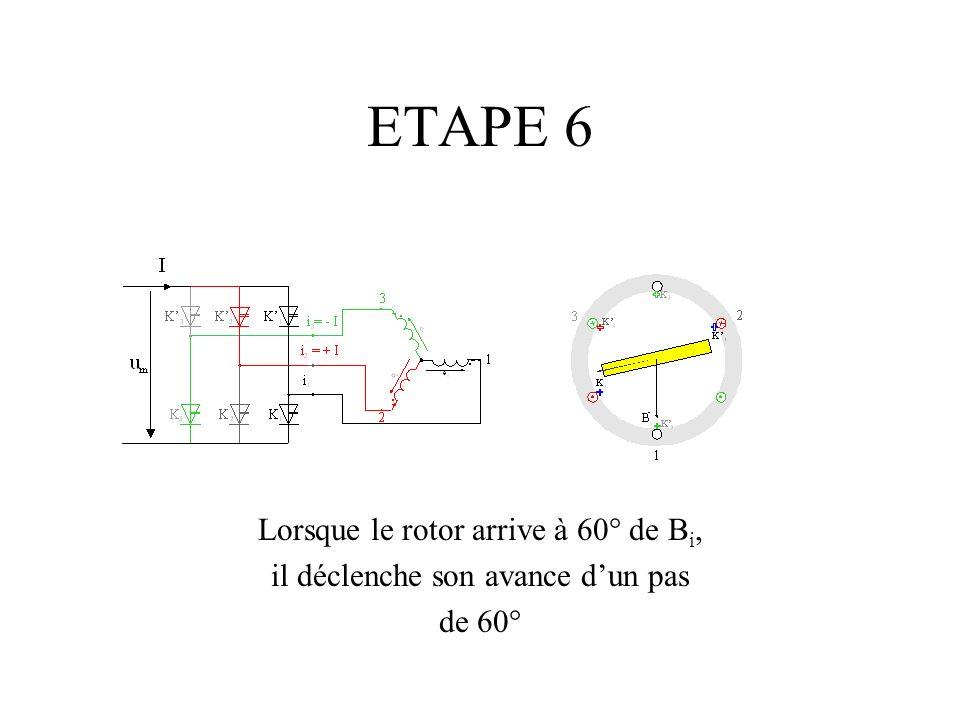 ETAPE 6 Lorsque le rotor arrive à 60° de B i, il déclenche son avance dun pas de 60°