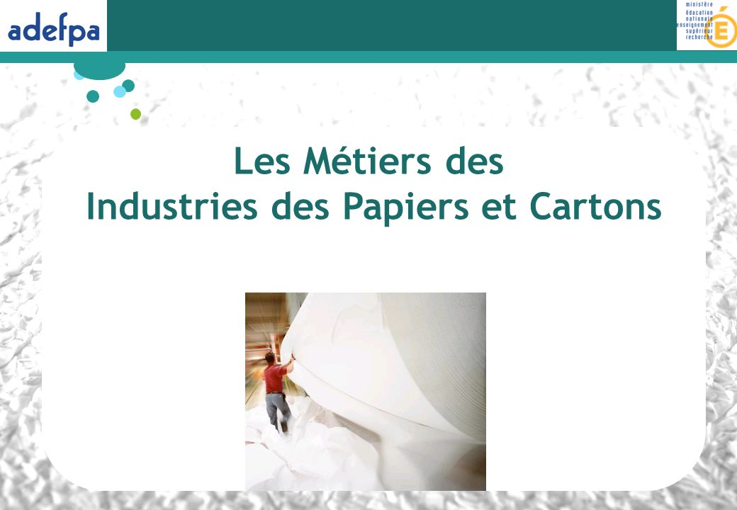 LInter-Secteur Papier Carton 1 383 entreprises et établissements répartis sur lensemble du territoire 69 000 salariés 8,8 millions de tonnes de papiers et cartons produites par an 19 milliards deuros de chiffre daffaires