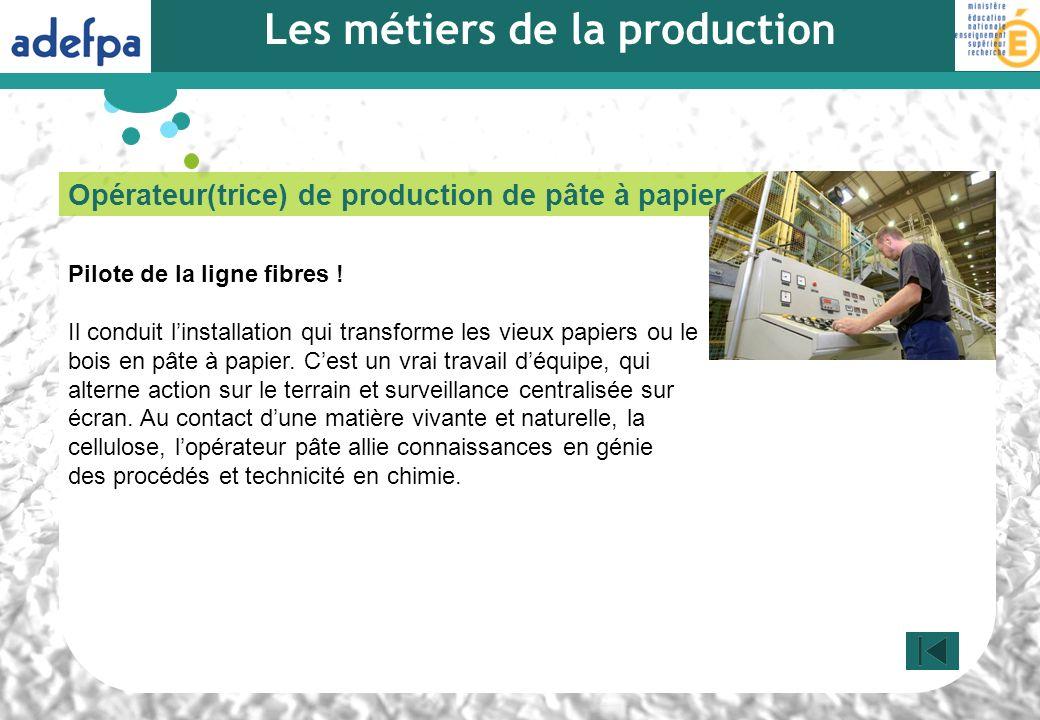 Opérateur(trice) de production de pâte à papier Pilote de la ligne fibres ! Il conduit linstallation qui transforme les vieux papiers ou le bois en pâ