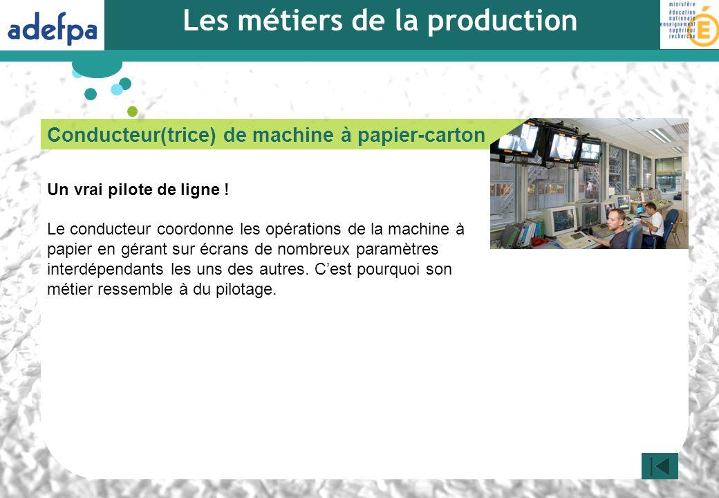 Conducteur(trice) de machine à papier-carton Un vrai pilote de ligne ! Le conducteur coordonne les opérations de la machine à papier en gérant sur écr