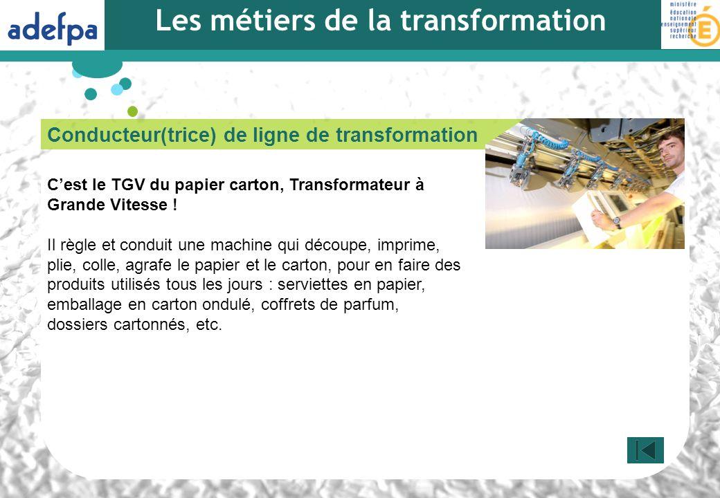 Conducteur(trice) de ligne de transformation Cest le TGV du papier carton, Transformateur à Grande Vitesse ! Il règle et conduit une machine qui décou