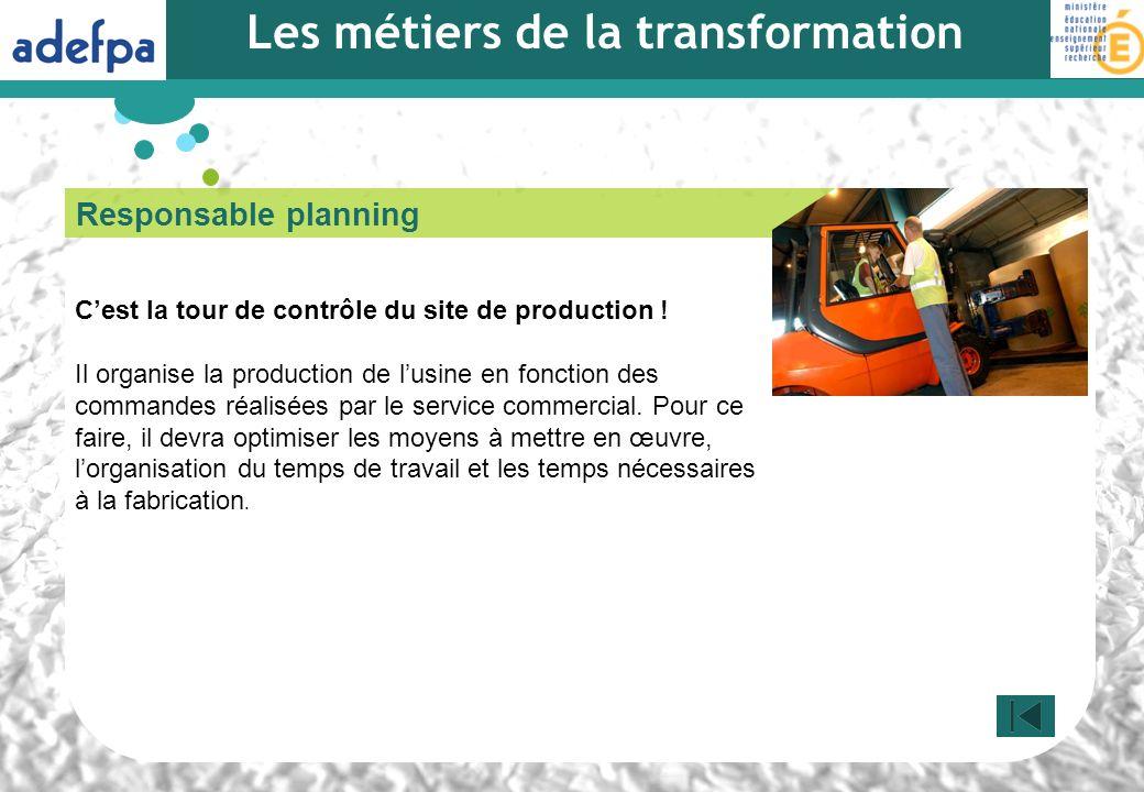 Responsable planning Cest la tour de contrôle du site de production ! Il organise la production de lusine en fonction des commandes réalisées par le s