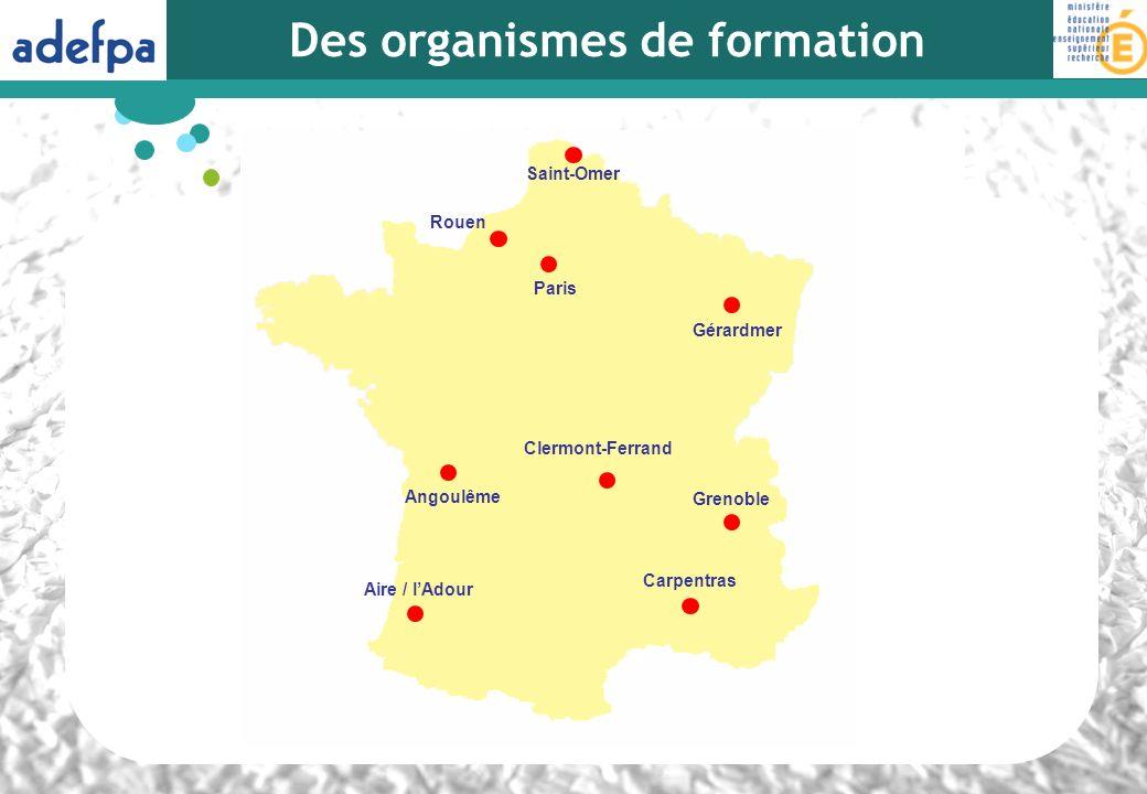 Des organismes de formation Rouen Paris Gérardmer Grenoble Aire / lAdour Saint-Omer Angoulême Carpentras Clermont-Ferrand