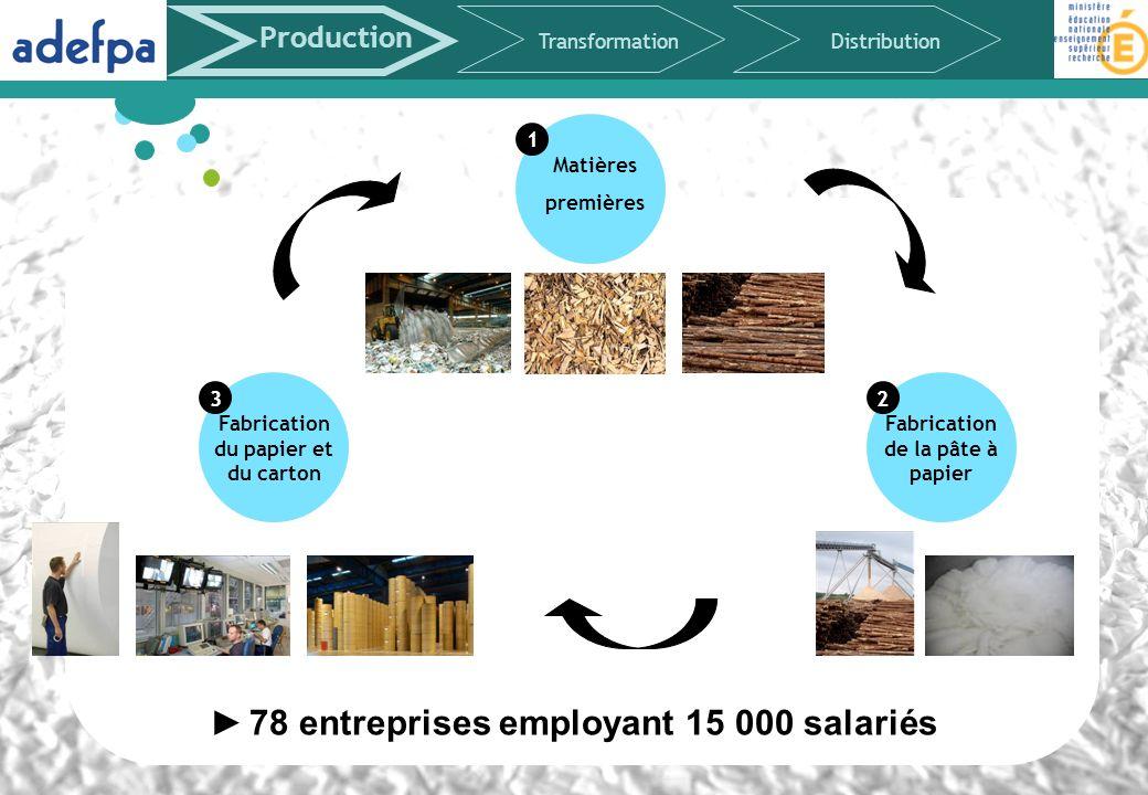 Matières premières 1 Production TransformationDistribution Fabrication du papier et du carton 3 Fabrication de la pâte à papier 2 78 entreprises emplo