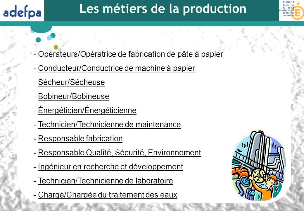 Les métiers de la production - Opérateurs/Opératrice de fabrication de pâte à papier Opérateurs/Opératrice de fabrication de pâte à papier - Conducteu