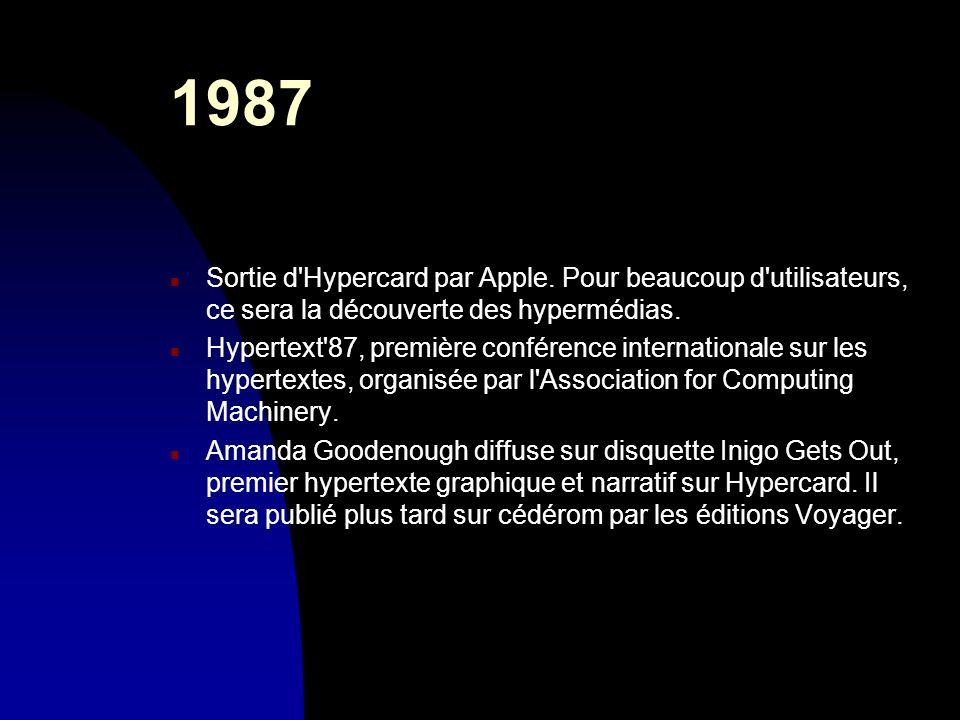1987 n Sortie d'Hypercard par Apple. Pour beaucoup d'utilisateurs, ce sera la découverte des hypermédias. n Hypertext'87, première conférence internat