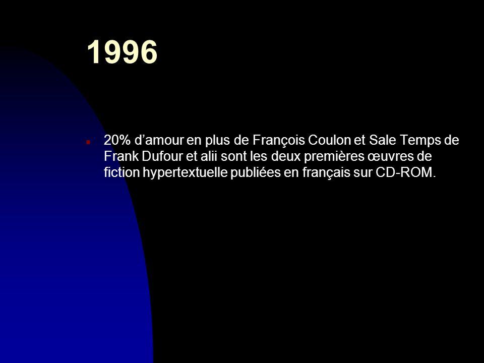 1996 n 20% damour en plus de François Coulon et Sale Temps de Frank Dufour et alii sont les deux premières œuvres de fiction hypertextuelle publiées e