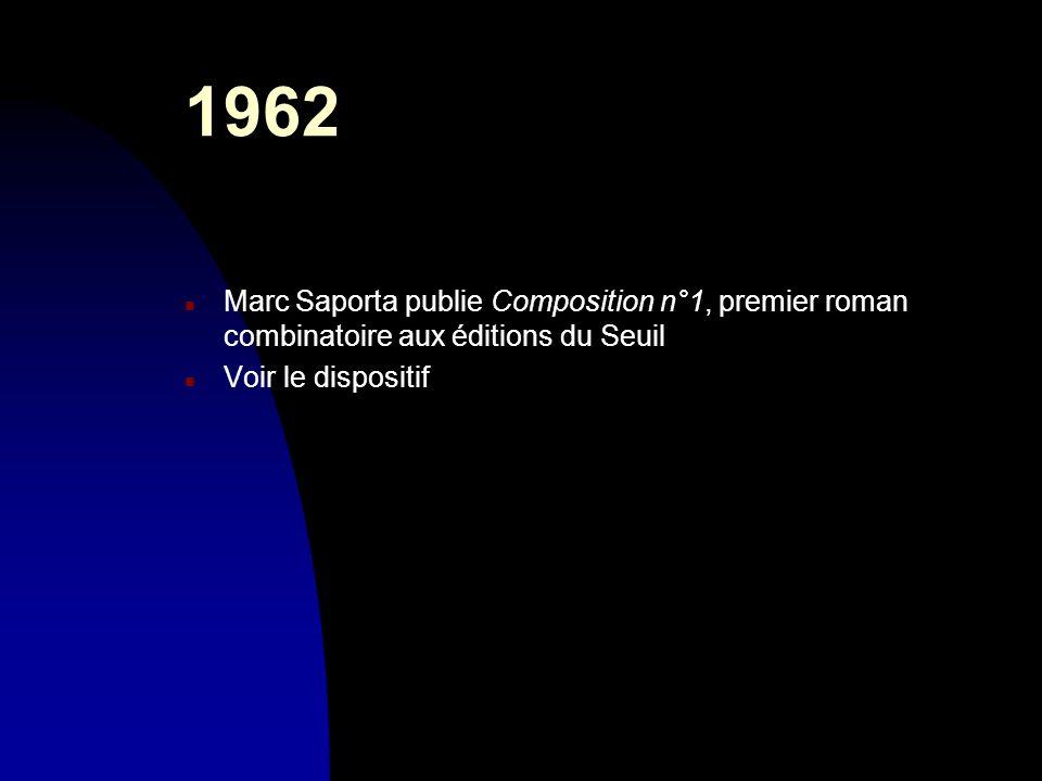 1962 n Marc Saporta publie Composition n°1, premier roman combinatoire aux éditions du Seuil n Voir le dispositif