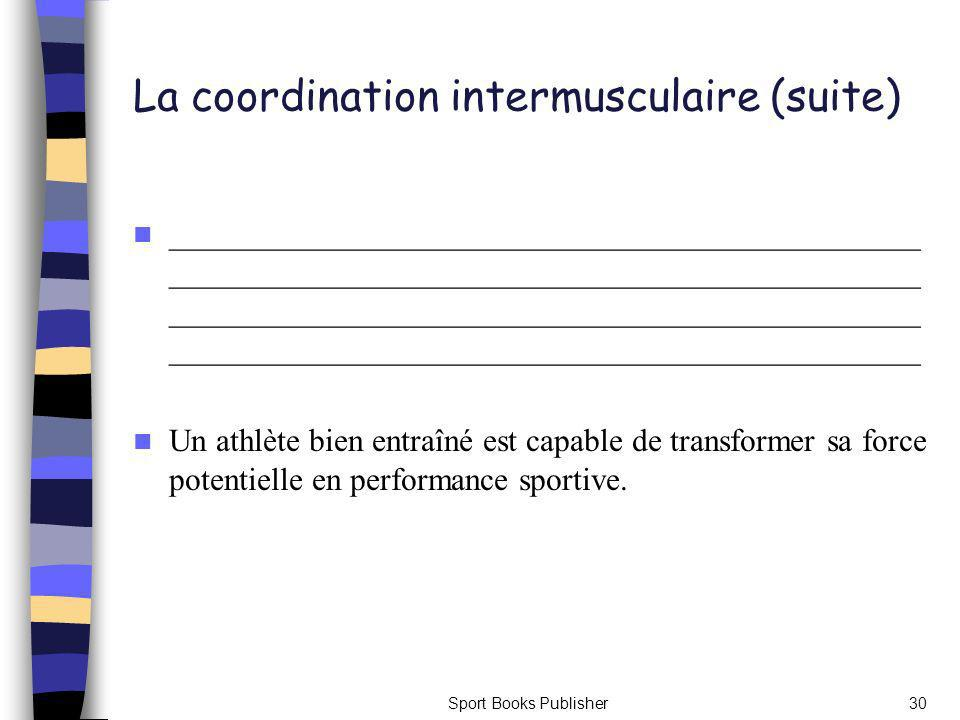 Sport Books Publisher30 La coordination intermusculaire (suite) _______________________________________________ _______________________________________________ _______________________________________________ _______________________________________________ Un athlète bien entraîné est capable de transformer sa force potentielle en performance sportive.