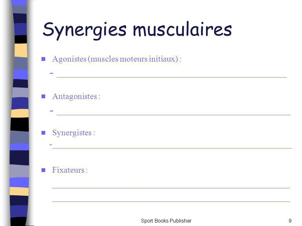 Sport Books Publisher9 Synergies musculaires Agonistes (muscles moteurs initiaux) : - _____________________________________________________________ An