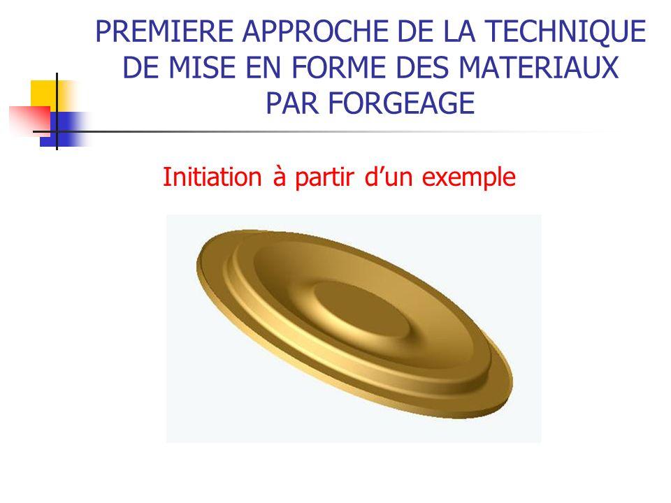PREMIERE APPROCHE DE LA TECHNIQUE DE MISE EN FORME DES MATERIAUX PAR FORGEAGE Initiation à partir dun exemple
