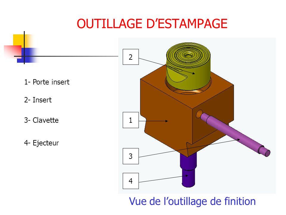 OUTILLAGE DESTAMPAGE Vue de loutillage de finition 1 2 3 4 1- Porte insert 2- Insert 3- Clavette 4- Ejecteur