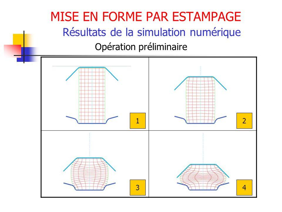 MISE EN FORME PAR ESTAMPAGE Résultats de la simulation numérique Opération préliminaire 12 34