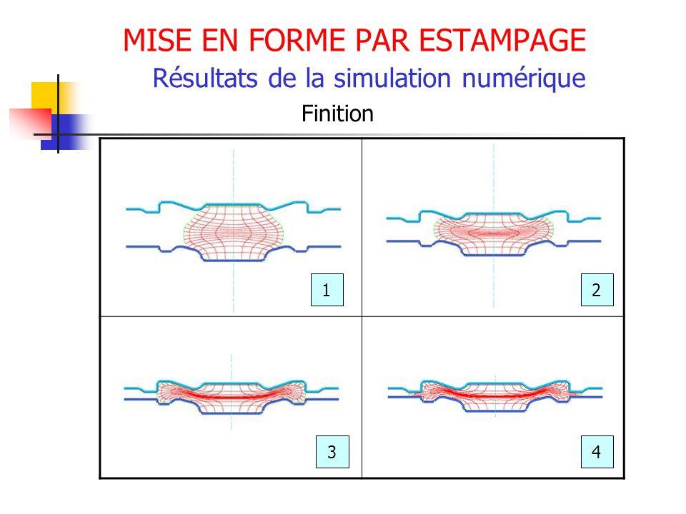 MISE EN FORME PAR ESTAMPAGE Résultats de la simulation numérique Finition 12 34