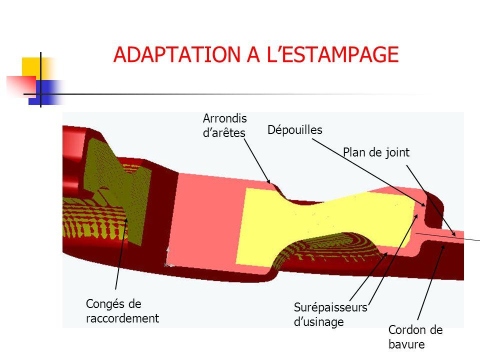 ADAPTATION A LESTAMPAGE Plan de joint Surépaisseurs dusinage Dépouilles Arrondis darêtes Congés de raccordement Cordon de bavure