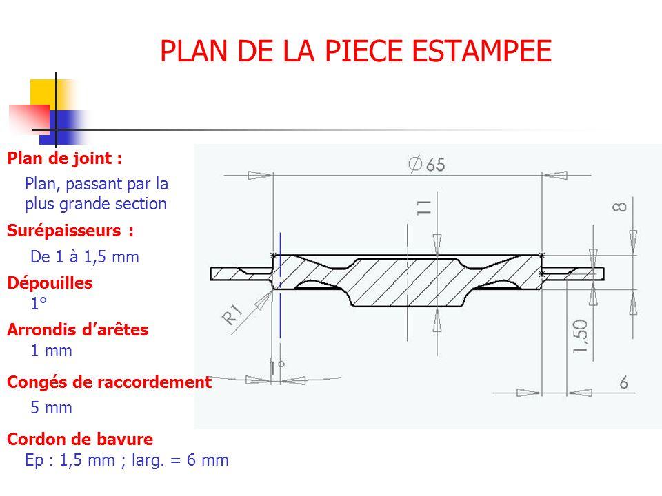 PLAN DE LA PIECE ESTAMPEE Plan de joint : Plan, passant par la plus grande section Surépaisseurs : De 1 à 1,5 mm Dépouilles 1° Arrondis darêtes 1 mm C