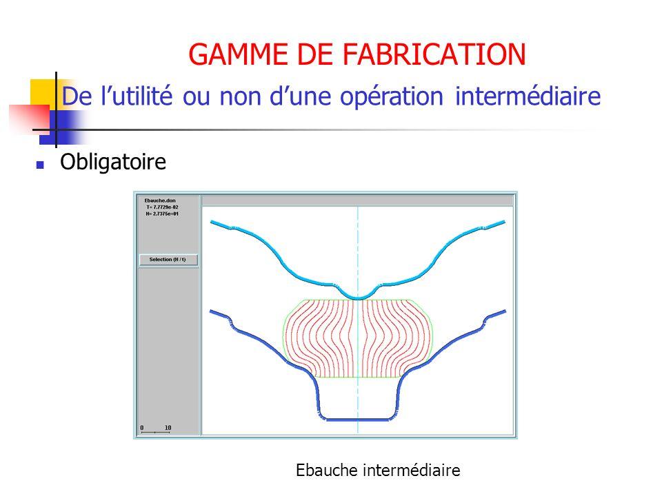 GAMME DE FABRICATION Obligatoire De lutilité ou non dune opération intermédiaire Ebauche intermédiaire