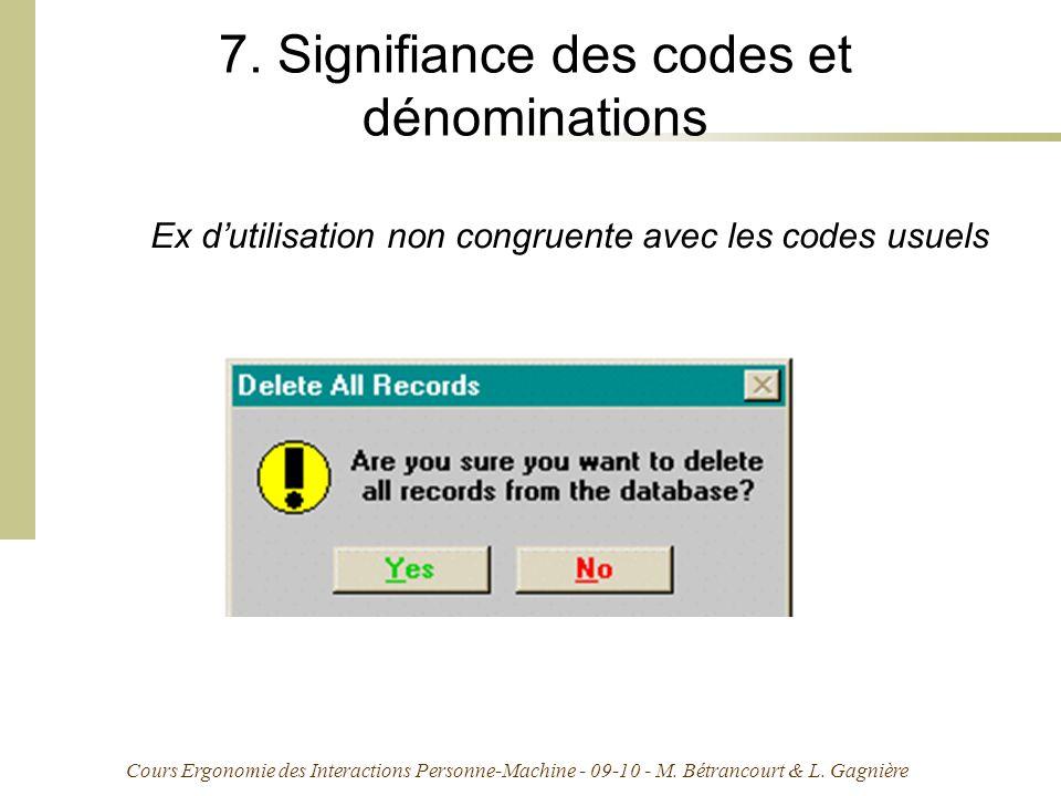 Cours Ergonomie des Interactions Personne-Machine - 09-10 - M. Bétrancourt & L. Gagnière 7. Signifiance des codes et dénominations Ex dutilisation non