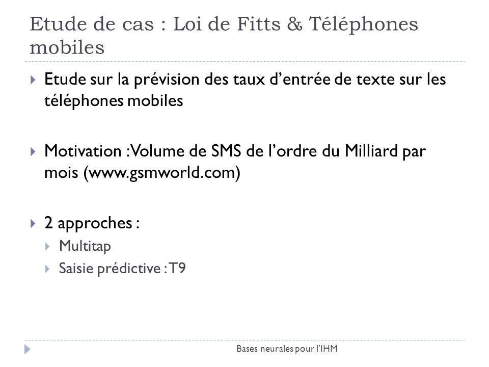 Etude de cas : Loi de Fitts & Téléphones mobiles Bases neurales pour lIHM Etude sur la prévision des taux dentrée de texte sur les téléphones mobiles