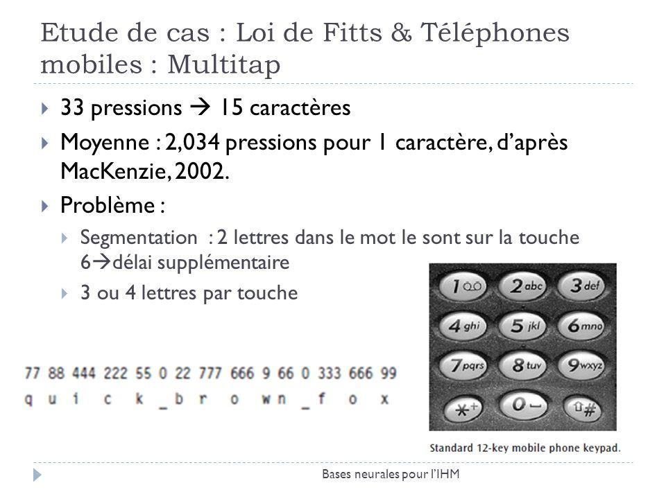 Etude de cas : Loi de Fitts & Téléphones mobiles : Multitap Bases neurales pour lIHM 33 pressions 15 caractères Moyenne : 2,034 pressions pour 1 carac