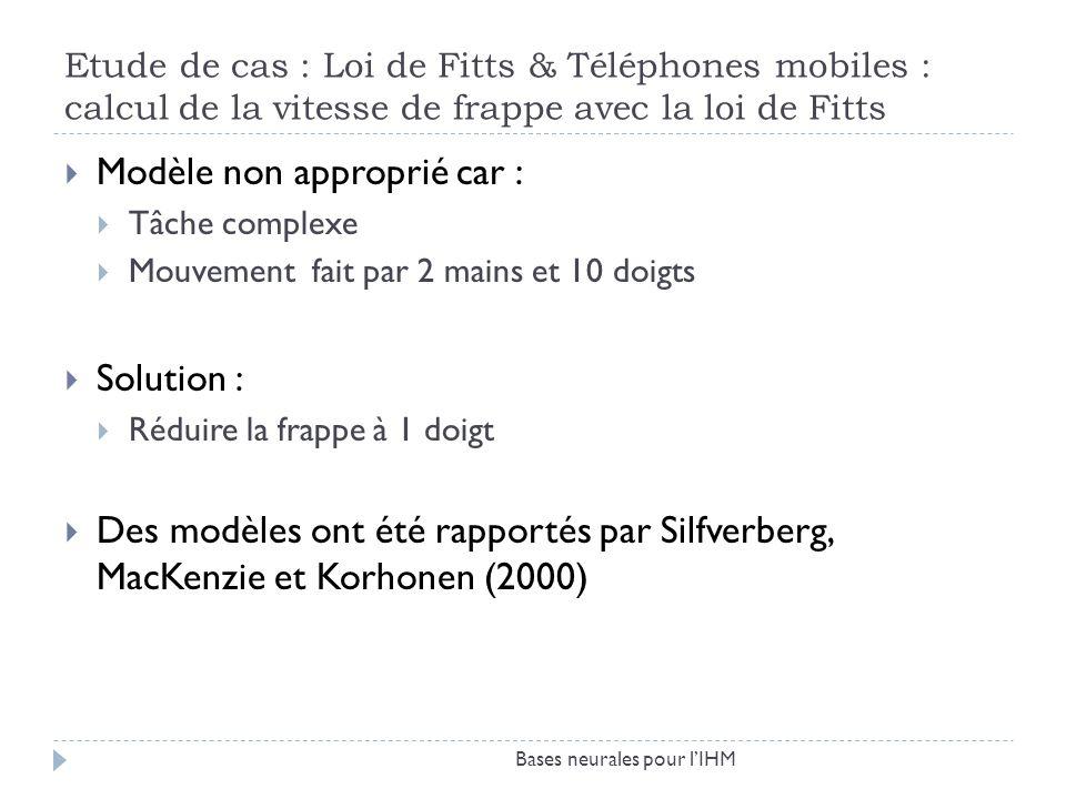 Etude de cas : Loi de Fitts & Téléphones mobiles : calcul de la vitesse de frappe avec la loi de Fitts Bases neurales pour lIHM Modèle non approprié c
