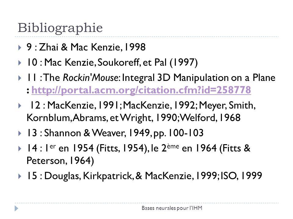 Bibliographie 9 : Zhai & Mac Kenzie, 1998 10 : Mac Kenzie, Soukoreff, et Pal (1997) 11 : The Rockin'Mouse: Integral 3D Manipulation on a Plane : http: