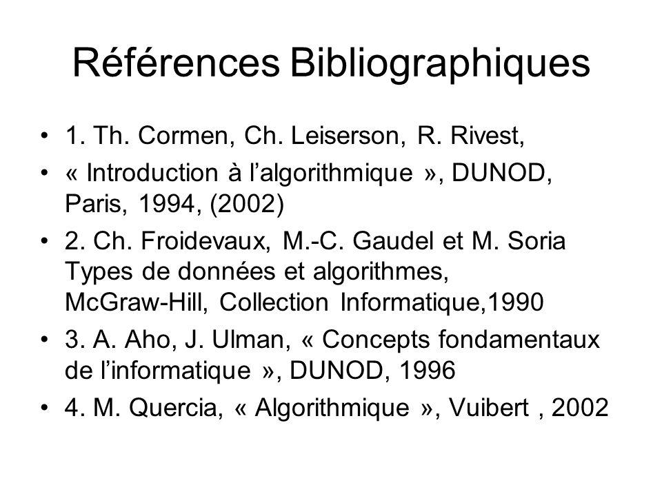 Références Bibliographiques 1. Th. Cormen, Ch. Leiserson, R. Rivest, « Introduction à lalgorithmique », DUNOD, Paris, 1994, (2002) 2. Ch. Froidevaux,
