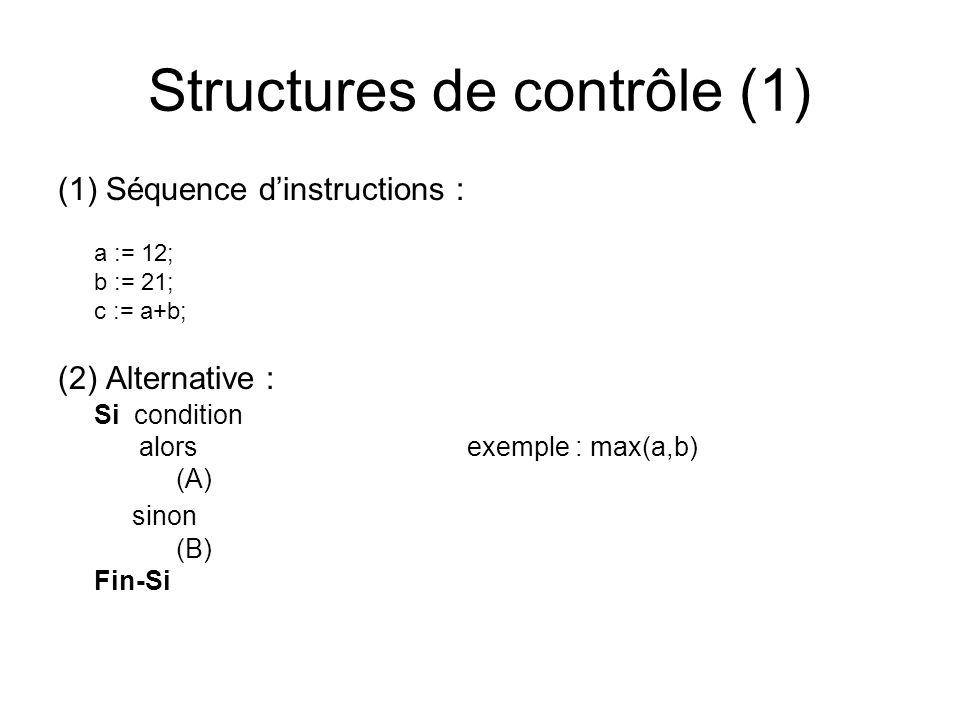 Structures de contrôle (1) (1) Séquence dinstructions : a := 12; b := 21; c := a+b; (2) Alternative : Si condition alors exemple : max(a,b) (A) sinon