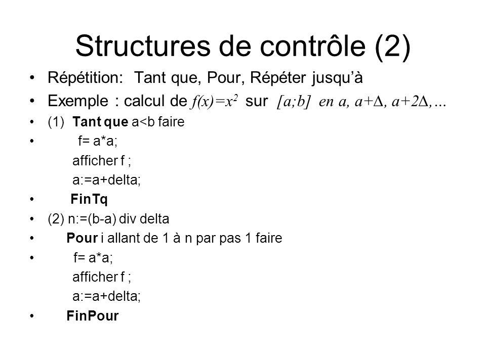 Structures de contrôle (2) Répétition: Tant que, Pour, Répéter jusquà Exemple : calcul de f(x)=x 2 sur [a;b] en a, a+, a+2,… (1) Tant que a<b faire f=