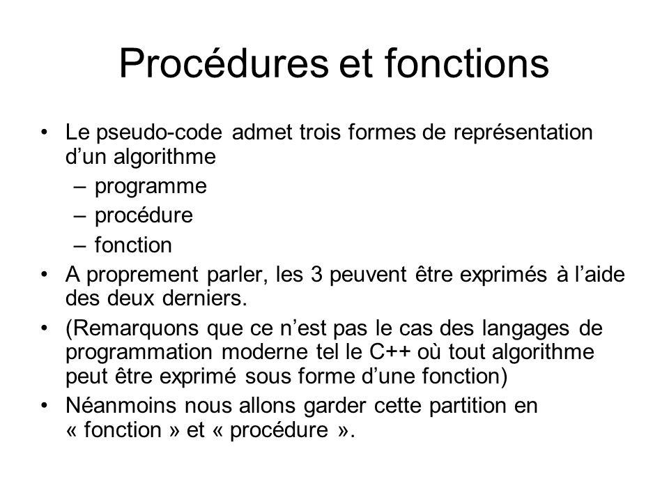 Procédures et fonctions Le pseudo-code admet trois formes de représentation dun algorithme –programme –procédure –fonction A proprement parler, les 3