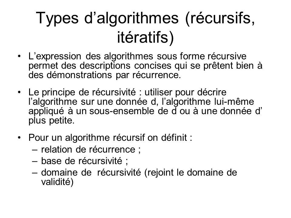 Types dalgorithmes (récursifs, itératifs) Lexpression des algorithmes sous forme récursive permet des descriptions concises qui se prêtent bien à des